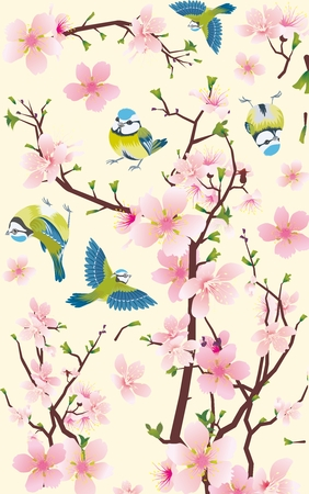 birds on branch: Vector Tree and Bird Illustration, simple and contemporary design