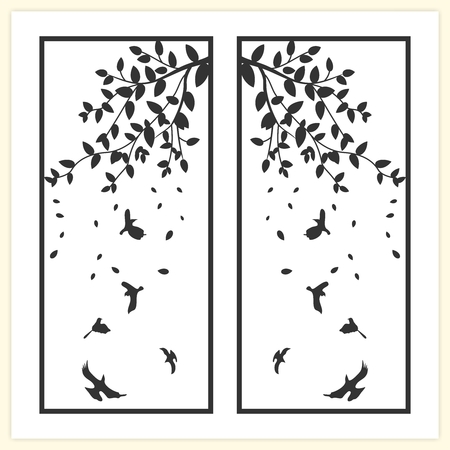 contemporary design: Vector Tree and Bird Illustration, simple and contemporary bookmark size design