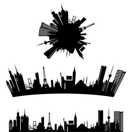 greyscale: Vector Urban Skyscraper Skyline greyscale illustration