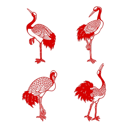 paper cutting: Vector Chinese Crane Illustration, Traditional red paper cutting style