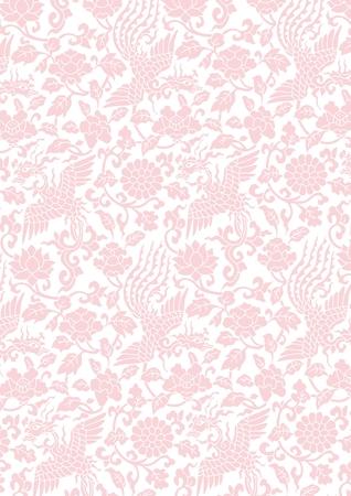 花と鳥図、シームレスな繰り返しオリエンタル スタイルをベクトルします。