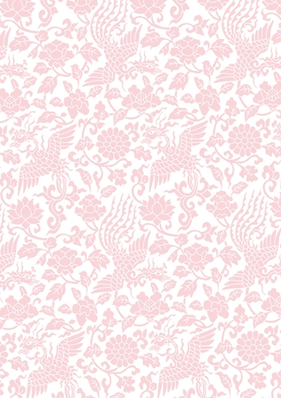 Vector Flower and Bird Illustration, Seamless Repeating Oriental style
