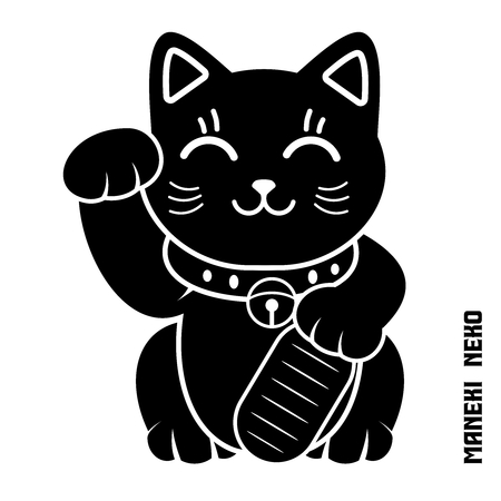 Vector Japanse Lucky Cat Illustratie, manekineko, maneki kat, Dollar kat
