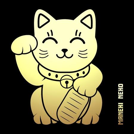money cat: Vector Japanese Lucky Cat Illustration, maneki Neko, maneki cat, Dollar cat