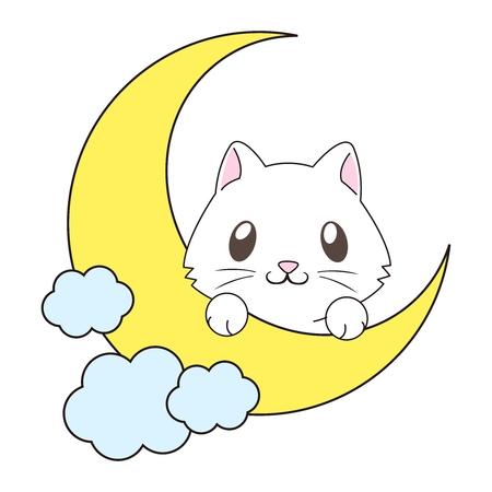 cute: Vector Cute Cartoon Cat on the Moon Illustration