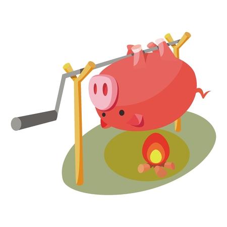 spanferkel: Vector Roast Hog Illustration auf Lagerfeuer auf weißem Hintergrund
