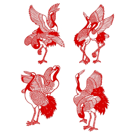 Vector Chinese Crane Illustration, Traditional red paper cutting style