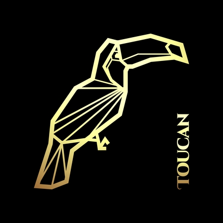 tucan: Vector Toucan Golden Silhouette on Black Background