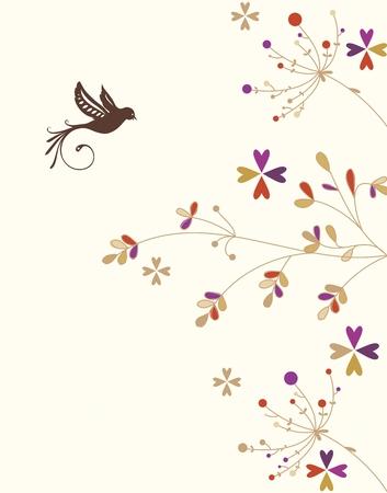 contemporary design: Vector Tree and Bird Illustration, simple and contemporary design