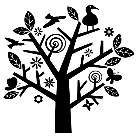 oak trees: Vector Tree and Bird Illustration, simple and contemporary design