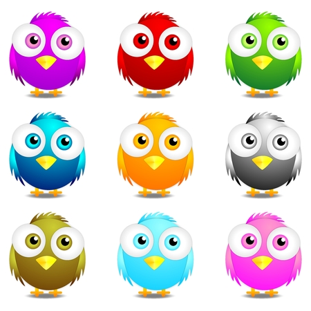 cute animal cartoon: Vector 3D Cartoon Bird Character Front in different colors collection Illustration