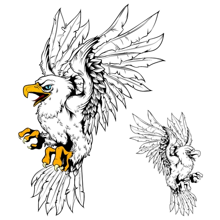 golden eagle: Vector Eagle Vintage Line Drawing Egale with Partial colored