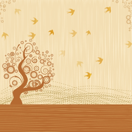 migrate: Vector Artistic Autumn Tree with Birds Flying background