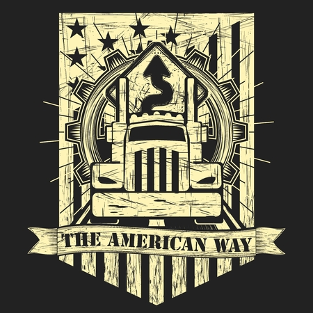Vector Punk Rock American Big Truck Illustration with Gear, road sign and flag illustration 일러스트