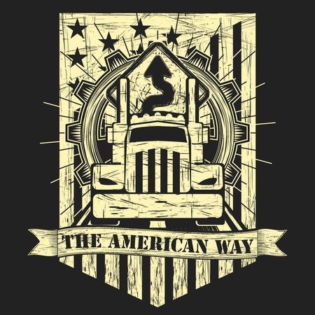Vector Punk Rock American Big Truck Illustration with Gear, road sign and flag illustration Illustration