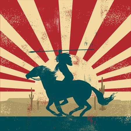 ベクトルでは、レトロなヴィンテージ インディアンの戦士が馬の背中に乗って  イラスト・ベクター素材