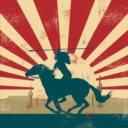 Vector Retro Vintage American Indian Warrior riding on horse back Иллюстрация