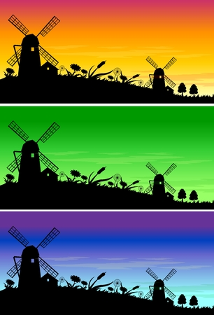 european alps: Vector Retro Windmill Silhouette Background with different colors of sky illustration