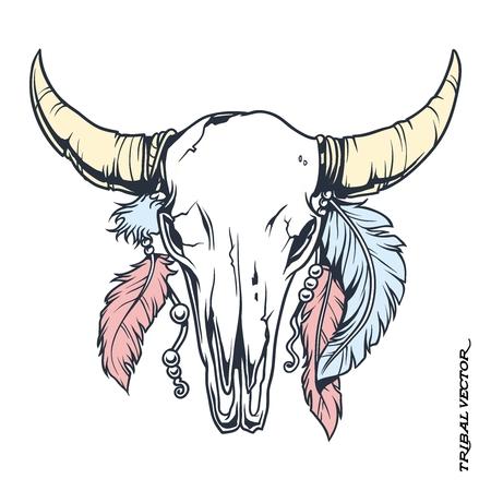 toro: Tatuaje del cráneo del vector Bull Tribal Con la ilustración de la pluma Vectores