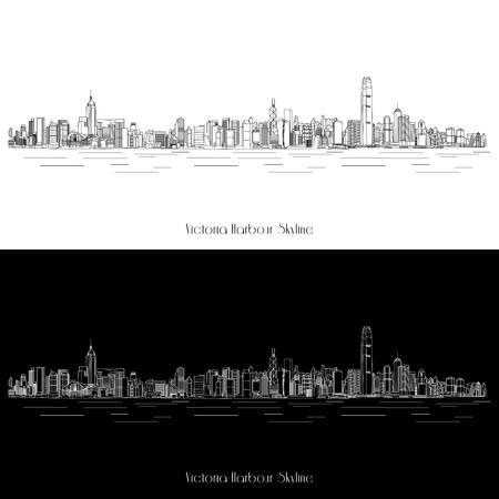 벡터 홍콩 빅토리아 항구 (Victoria Harbour) 스카이 라인의 그림