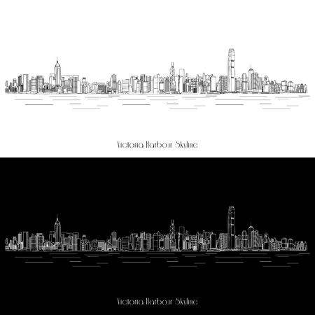 buildings vector: Vector Hong Kong Victoria Harbour Skyline Illustration