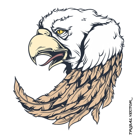 flying falcon: Vector Tribal Bald Eagle Tattoo Illustration isolated on white