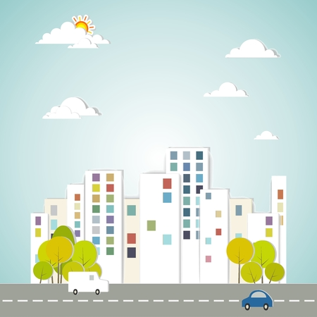 tall: Vector Conceptual City Drawing, with trees, cars and sky Illustration