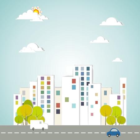 sociedade: Vetorial, conceitual, cidade, desenho, árvores, carros, céu
