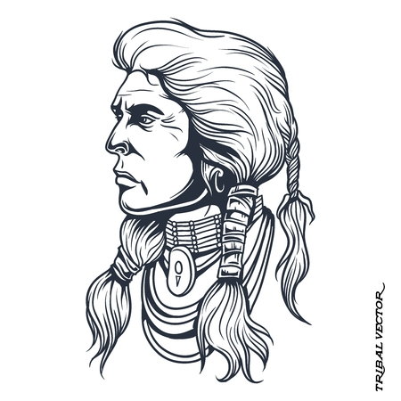indian chief: Vector Tribal Chief Head Silhouette Line Drawing