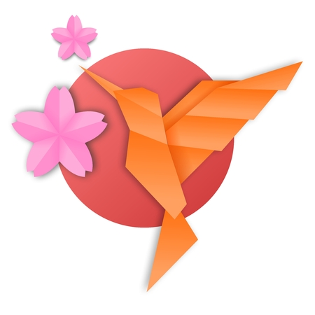 artisitc: Vector Creative Japanese Origami Hummingbird Illustration with cherry blossom sakura and sunset Illustration