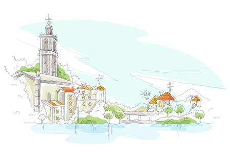 chapel: Vector Cartoon Imaginative City Illustration, medieval european city with cathedral