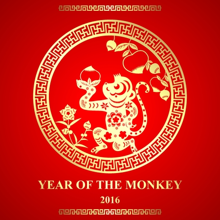 chinese postage stamp: Vector Chinese paper cutting style monkey ornament for Lunar New Year, Year of Monkey Illustration