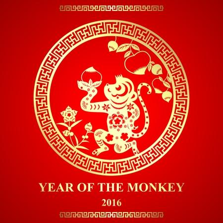 monos: Vector de estilo de corte de papel chino del ornamento del mono para el Año Nuevo Lunar, en el año del mono
