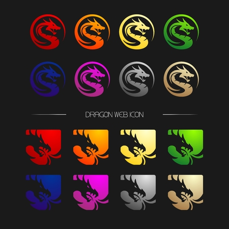 Vector Dragon Head icon in different color set collection 向量圖像