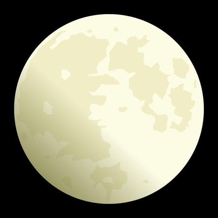 Vector Realistic Full Moon Illustration at night