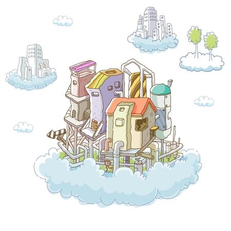 retro illustration: Vector Cartoon Imaginative City Illustration, futuristic floating city Illustration