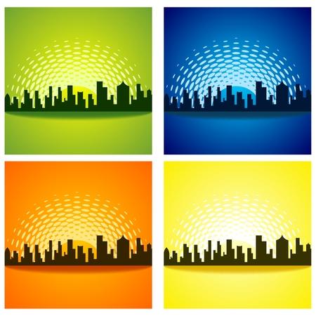 car garden: Vector Urban City Skyline Ilustration with four different version
