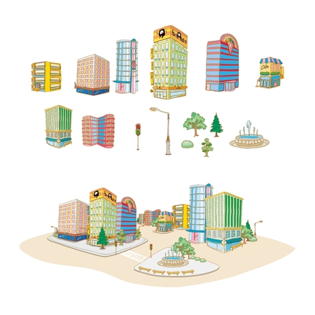 imaginative: Vector Cartoon Imaginative City Illustration with water painting style