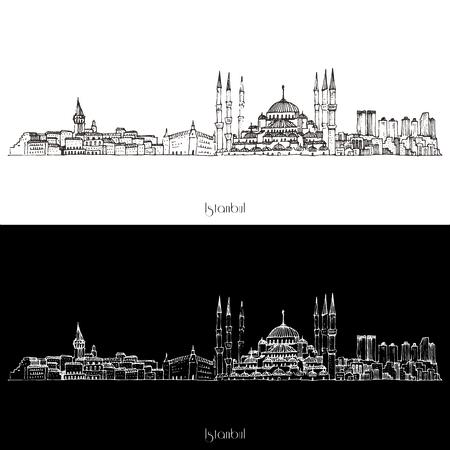 Skyline Vector Instanbul Stad illustratie op wit wordt geïsoleerd Stock Illustratie