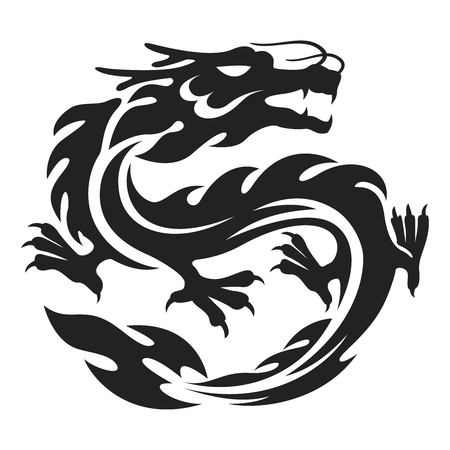 dragon chinois: Vector Dragon chinois Tattoo Illustration isolé sur blanc Illustration