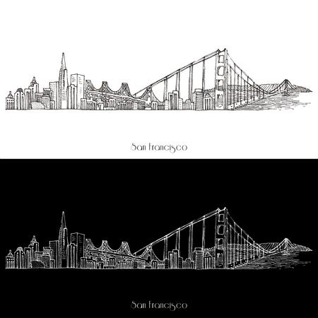 Vector San Fransisco Skyline illustratie op wit wordt geïsoleerd
