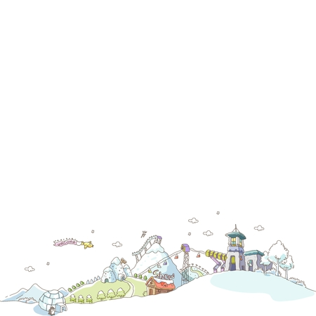 resorts: Vector Cartoon Imaginative City Illustration with water painting style