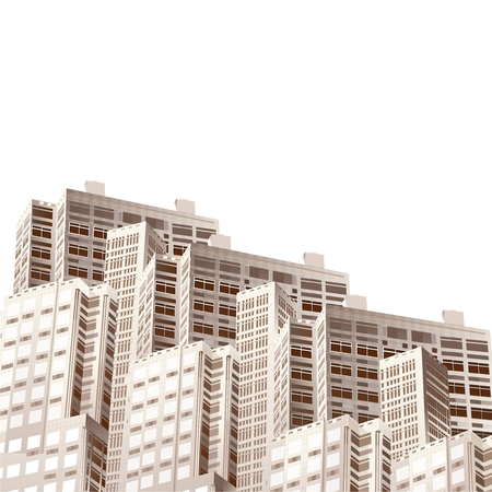 housing estate: Vector 3D Apartments Illustration isolated on white background