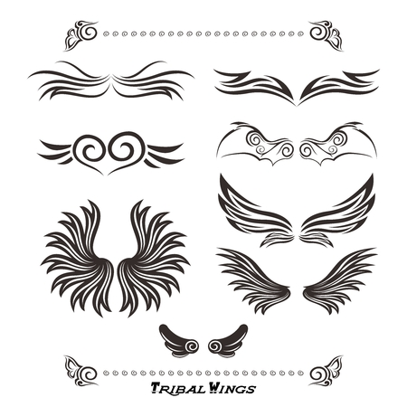 Vector Tribal Wing tattoo Set Collection isolated on white Illustration