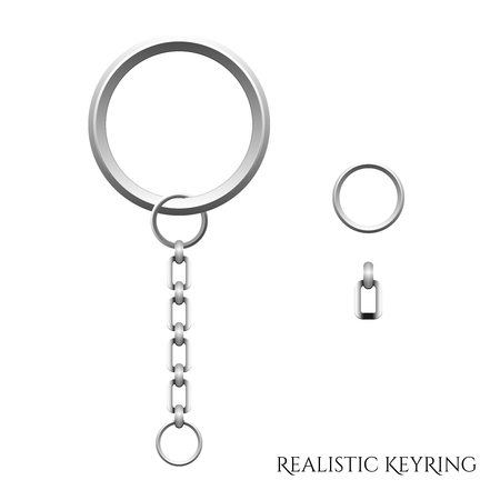 Vector Realistic 3D Key ring illustration with parts isolated on white background Illustration