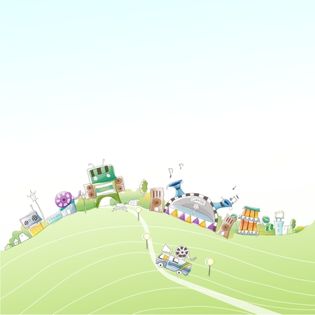 retro illustration: Vector Cartoon Imaginative City Illustration, futuristic city on hill top