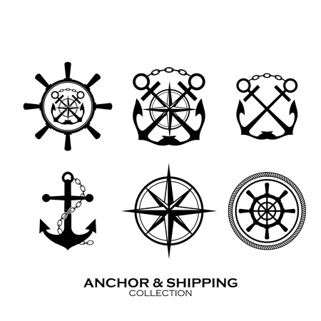 Vector Shipping Symbol Collection, black  white monochrome, anchor, rope, compass, iron chain and steering wheel