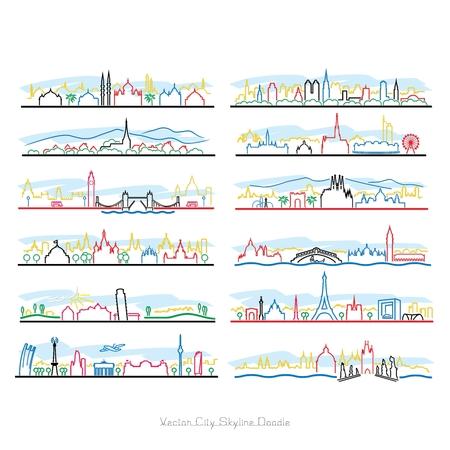 Vector City Pen Doodle illustratie op een witte achtergrond