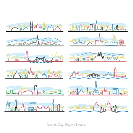 garden city: Vector City Pen Doodle Illustration isolated on white background