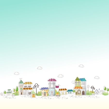 simple house: Vector Cartoon Imaginative City Illustration, old street of restaurant and shop
